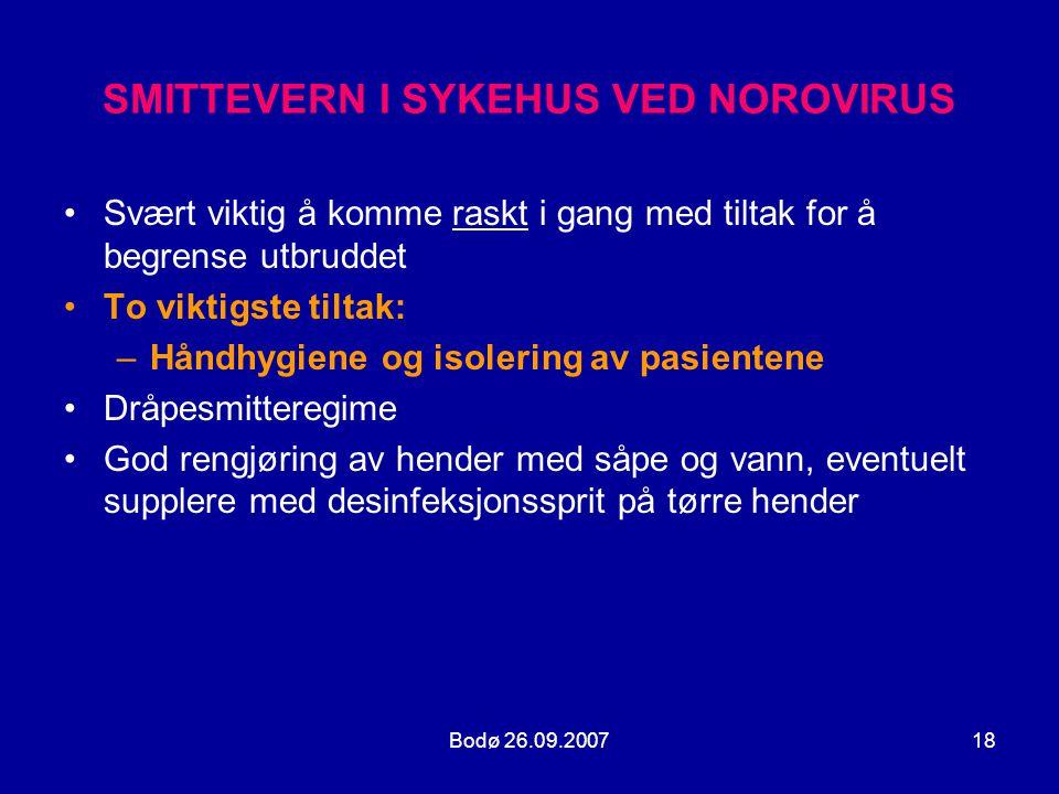 SMITTEVERN I SYKEHUS VED NOROVIRUS