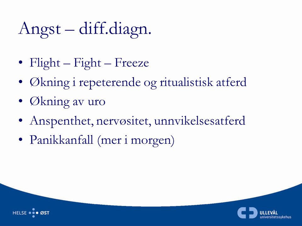 Angst – diff.diagn. Flight – Fight – Freeze