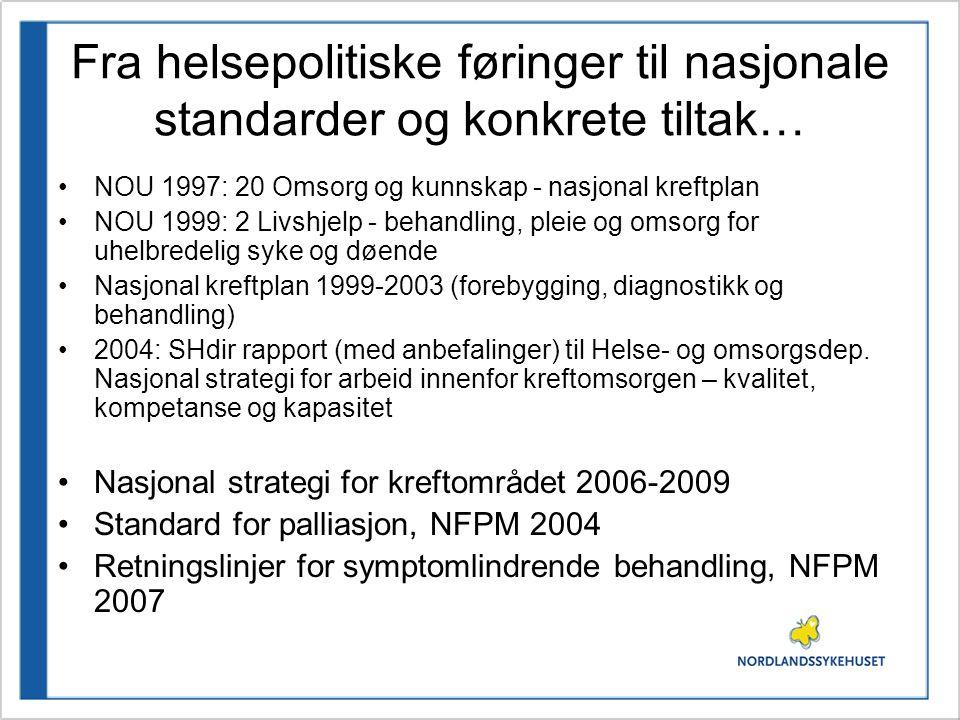 Fra helsepolitiske føringer til nasjonale standarder og konkrete tiltak…