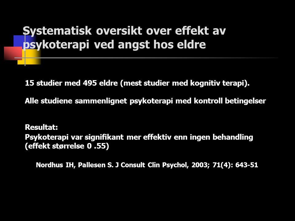 Systematisk oversikt over effekt av psykoterapi ved angst hos eldre