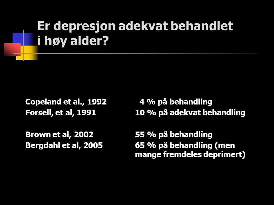 Er depresjon adekvat behandlet i høy alder