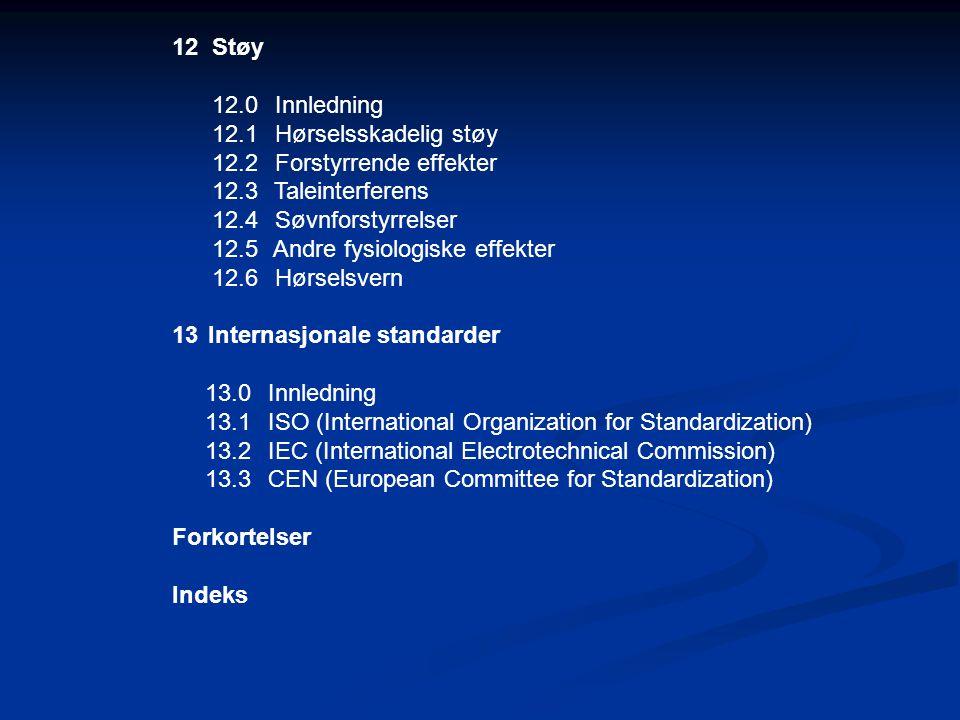 12 Støy 12.0 Innledning. 12.1 Hørselsskadelig støy. 12.2 Forstyrrende effekter. 12.3 Taleinterferens.