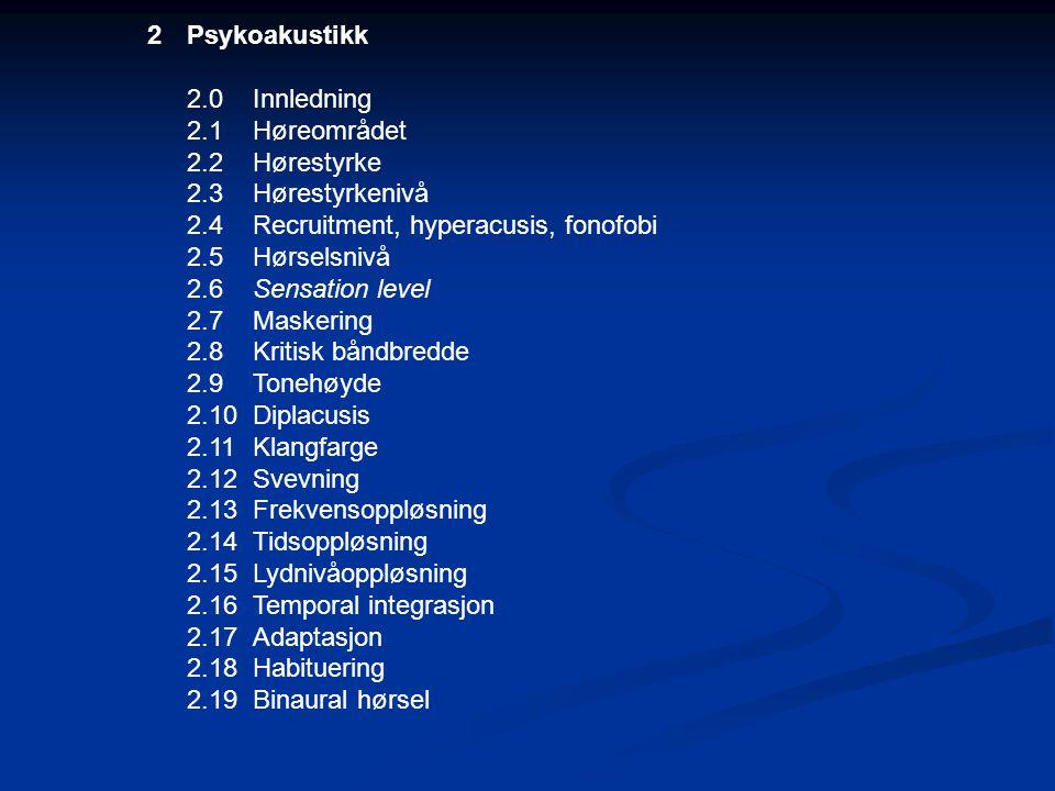Psykoakustikk 2.0 Innledning. 2.1 Høreområdet. 2.2 Hørestyrke. 2.3 Hørestyrkenivå. 2.4 Recruitment, hyperacusis, fonofobi.