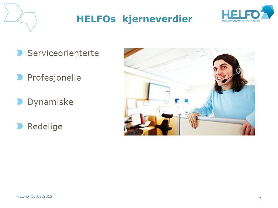 HELFOs kjerneverdier Serviceorienterte Profesjonelle Dynamiske
