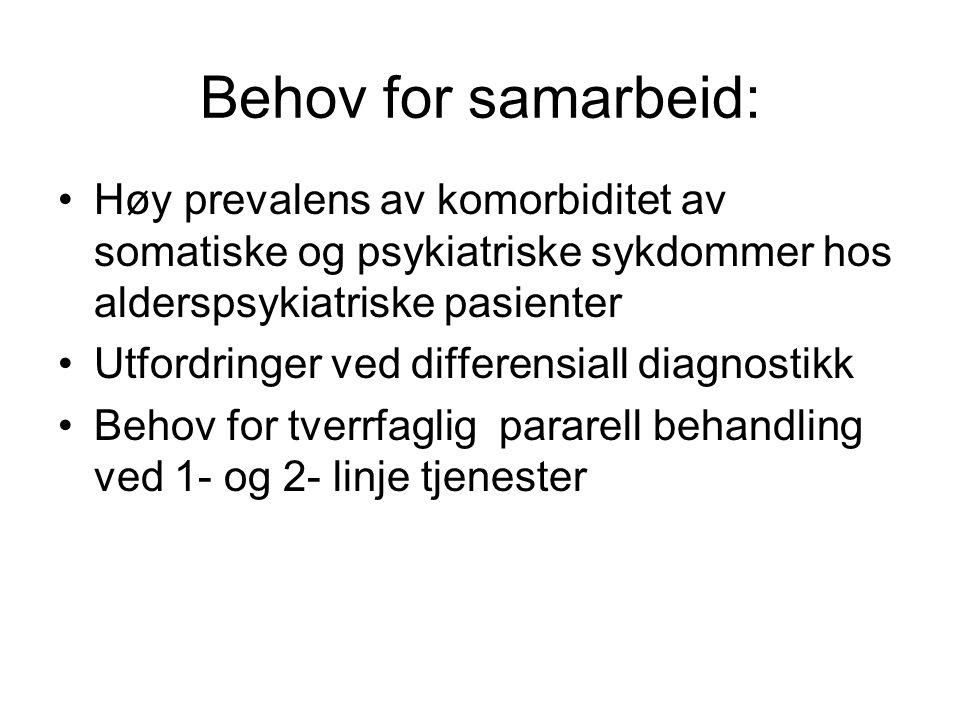 Behov for samarbeid: Høy prevalens av komorbiditet av somatiske og psykiatriske sykdommer hos alderspsykiatriske pasienter.