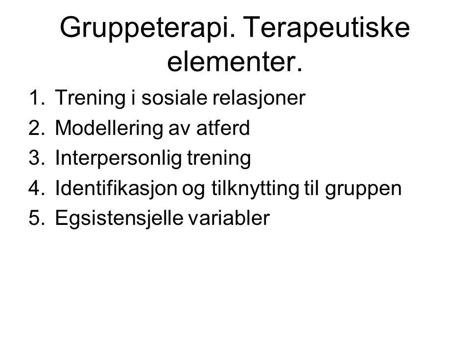 Gruppeterapi. Terapeutiske elementer.