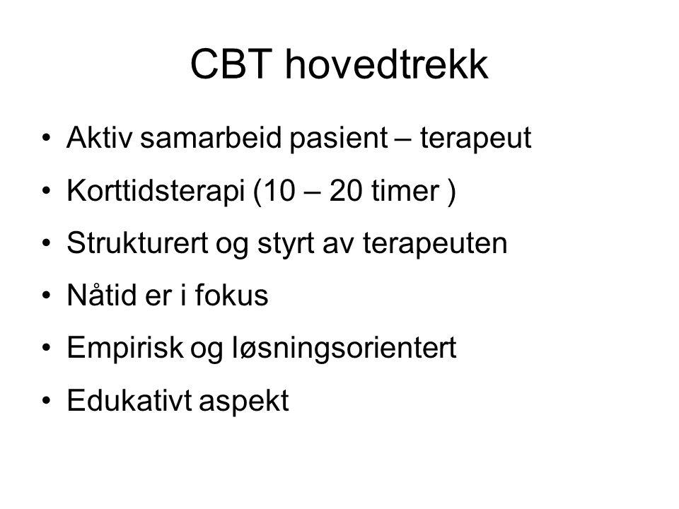 CBT hovedtrekk Aktiv samarbeid pasient – terapeut