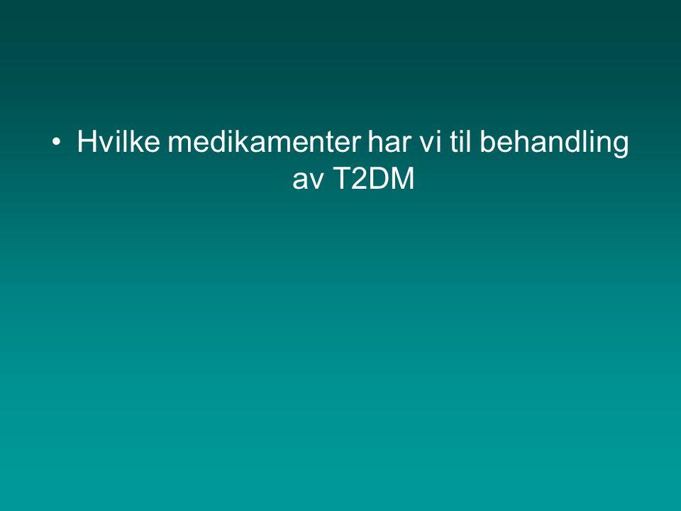 Hvilke medikamenter har vi til behandling av T2DM