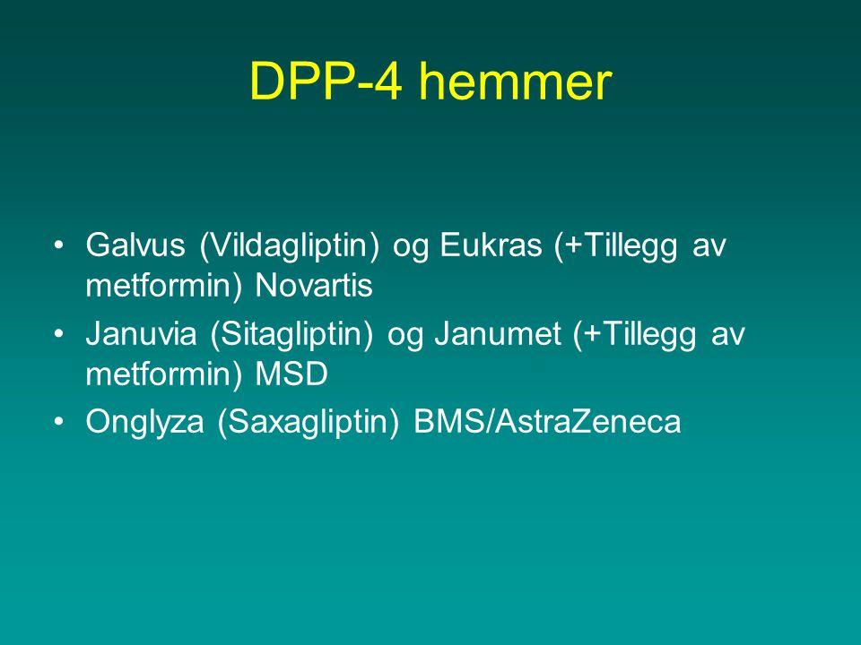 DPP-4 hemmer Galvus (Vildagliptin) og Eukras (+Tillegg av metformin) Novartis. Januvia (Sitagliptin) og Janumet (+Tillegg av metformin) MSD.