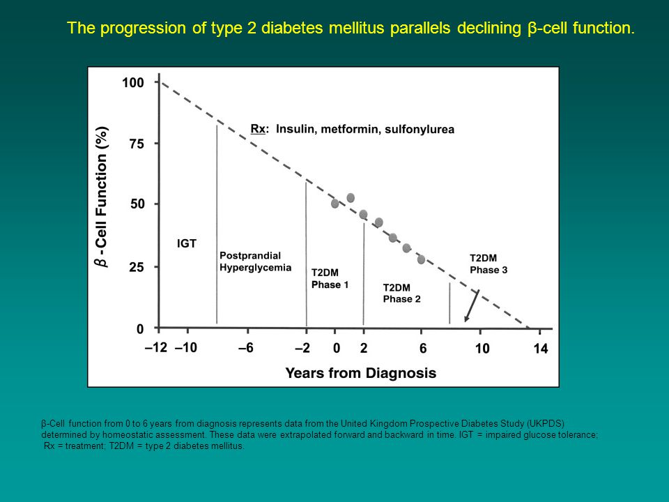 The progression of type 2 diabetes mellitus parallels declining β-cell function.