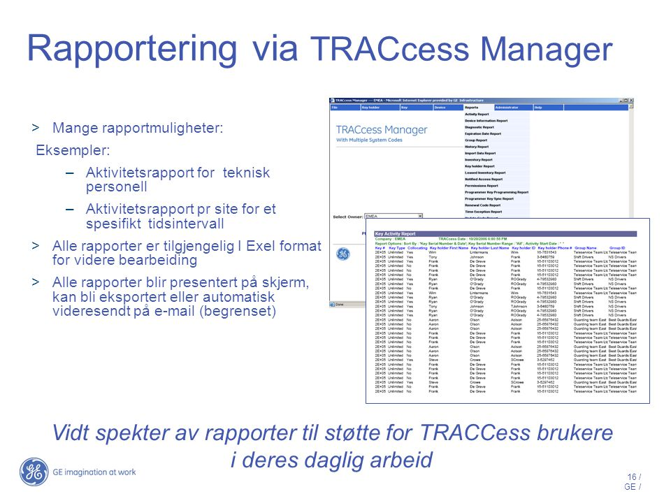 Rapportering via TRACcess Manager