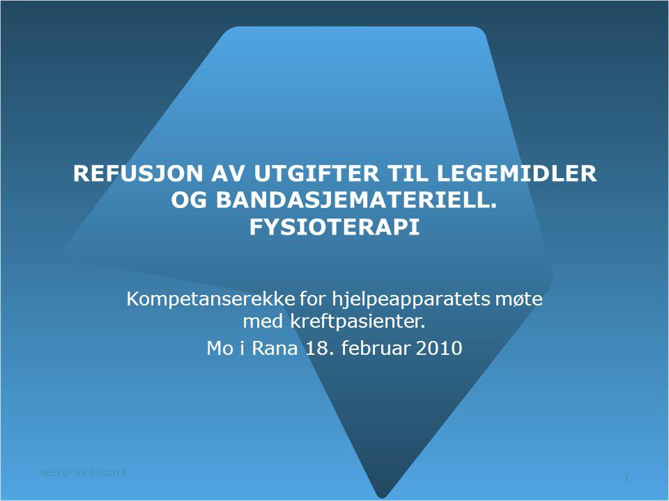 REFUSJON AV UTGIFTER TIL LEGEMIDLER OG BANDASJEMATERIELL. FYSIOTERAPI
