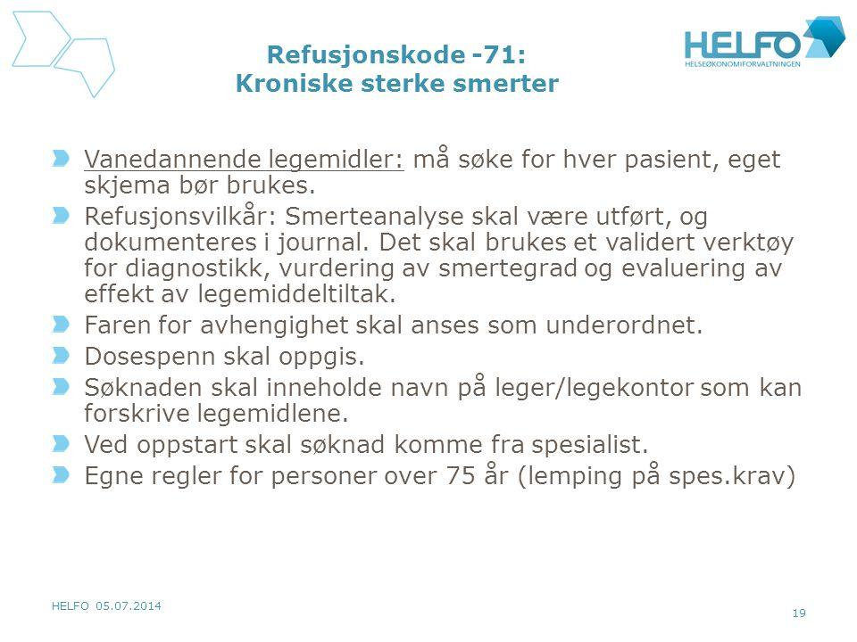 Refusjonskode -71: Kroniske sterke smerter