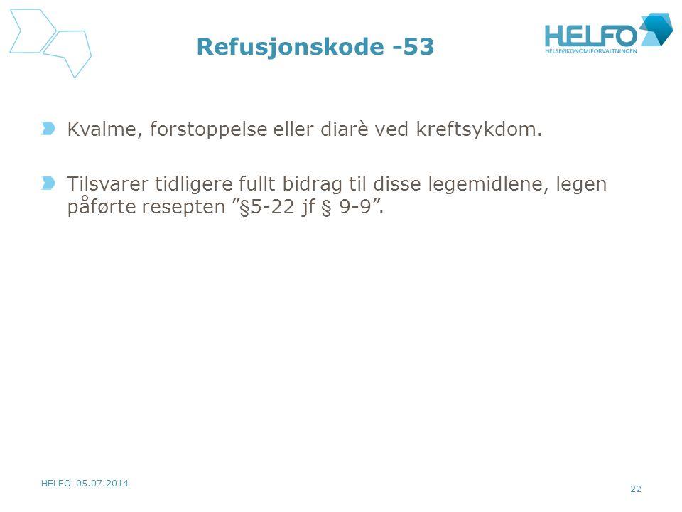 Refusjonskode -53 Kvalme, forstoppelse eller diarè ved kreftsykdom.