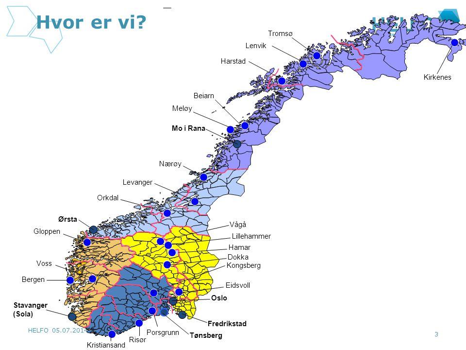 Hvor er vi Tromsø Lenvik Harstad Kirkenes Beiarn Meløy Mo i Rana