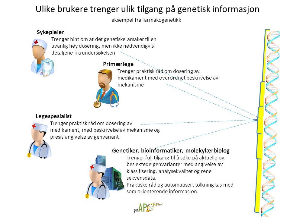 Ulike brukere trenger ulik tilgang på genetisk informasjon