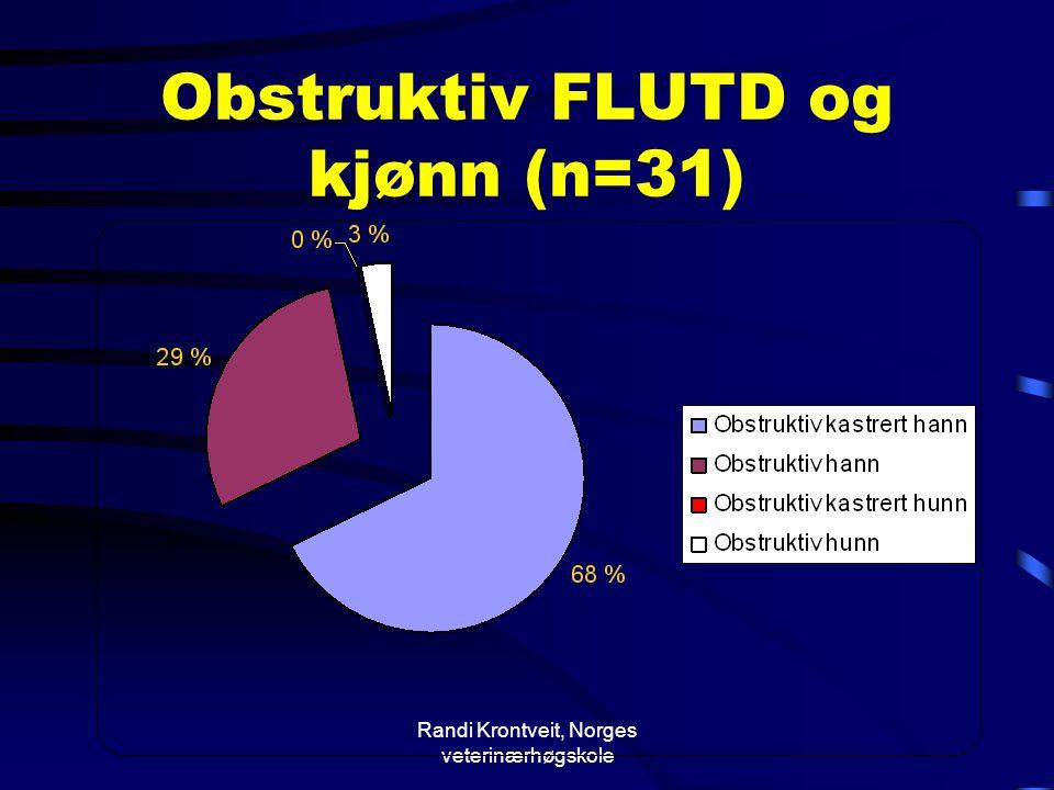 Obstruktiv FLUTD og kjønn (n=31)