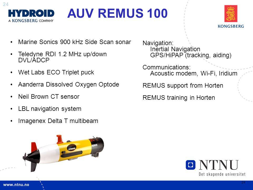 AUV REMUS 100 Marine Sonics 900 kHz Side Scan sonar Navigation: