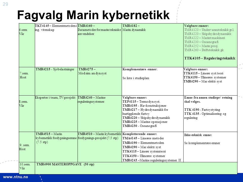 Fagvalg Marin kybernetikk