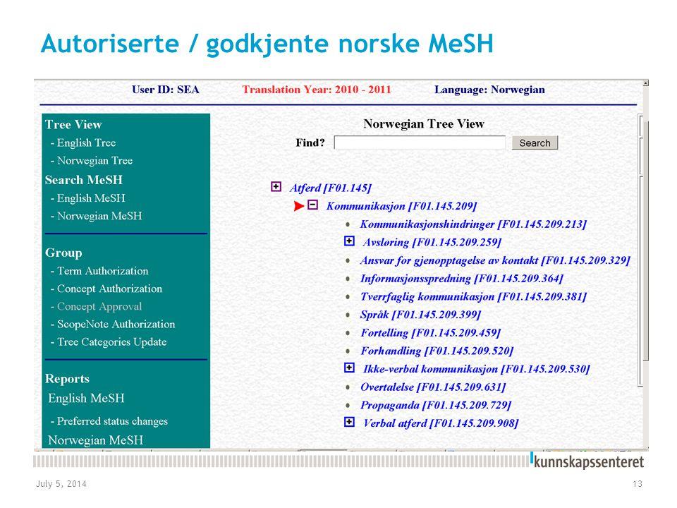 Autoriserte / godkjente norske MeSH