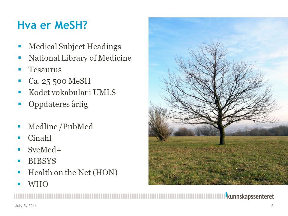 Hva er MeSH Medical Subject Headings National Library of Medicine