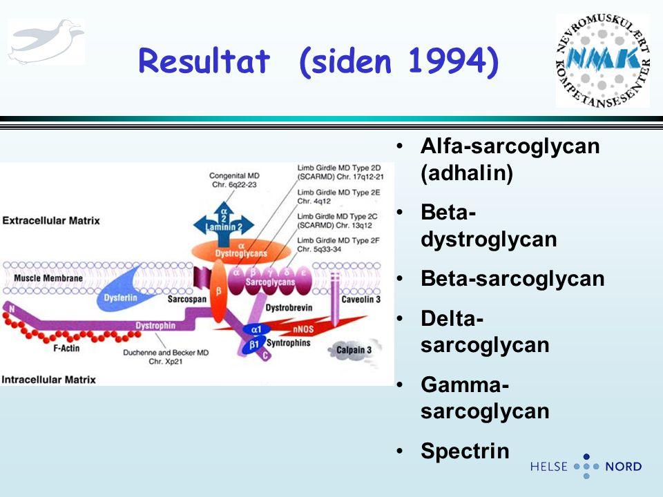 Resultat (siden 1994) Alfa-sarcoglycan (adhalin) Beta-dystroglycan