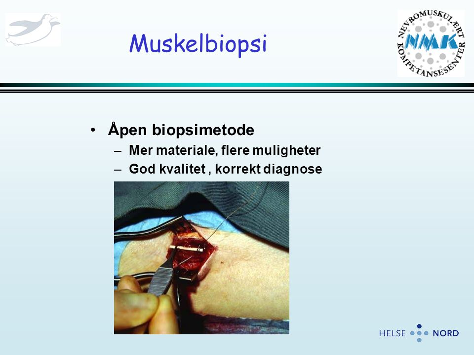 Muskelbiopsi Åpen biopsimetode Mer materiale, flere muligheter