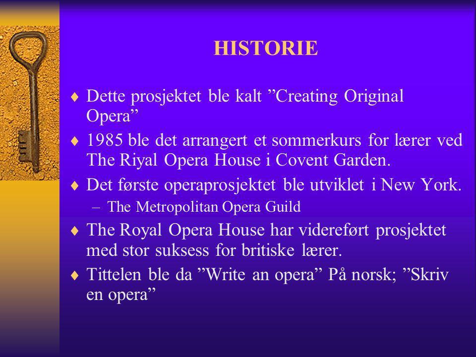 HISTORIE Dette prosjektet ble kalt Creating Original Opera