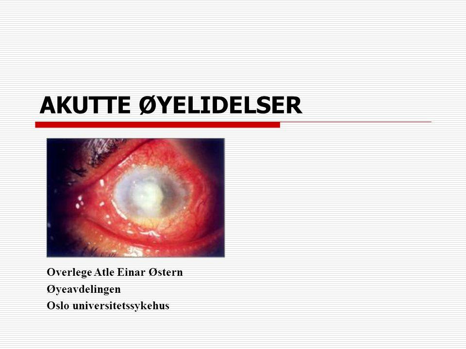 AKUTTE ØYELIDELSER Overlege Atle Einar Østern Øyeavdelingen
