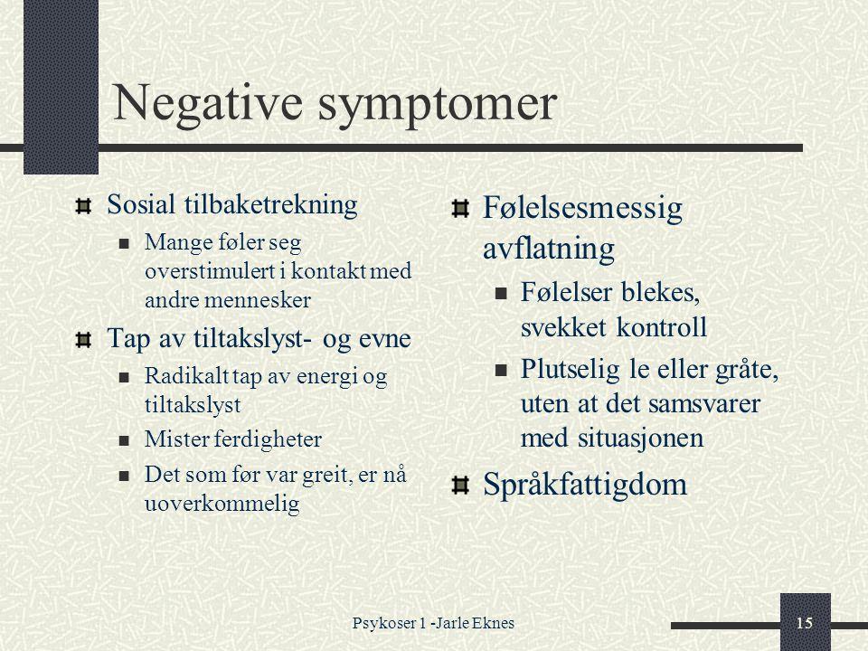 Negative symptomer Følelsesmessig avflatning Språkfattigdom