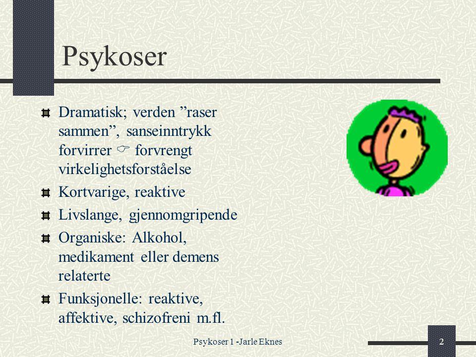 Psykoser Dramatisk; verden raser sammen , sanseinntrykk forvirrer  forvrengt virkelighetsforståelse.