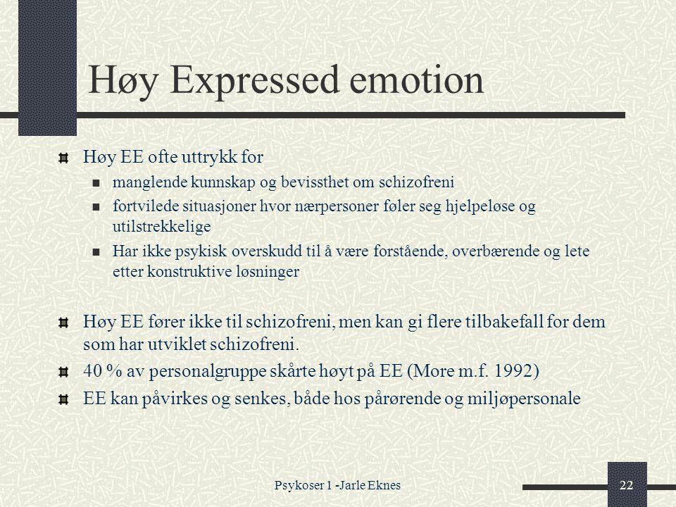 Høy Expressed emotion Høy EE ofte uttrykk for