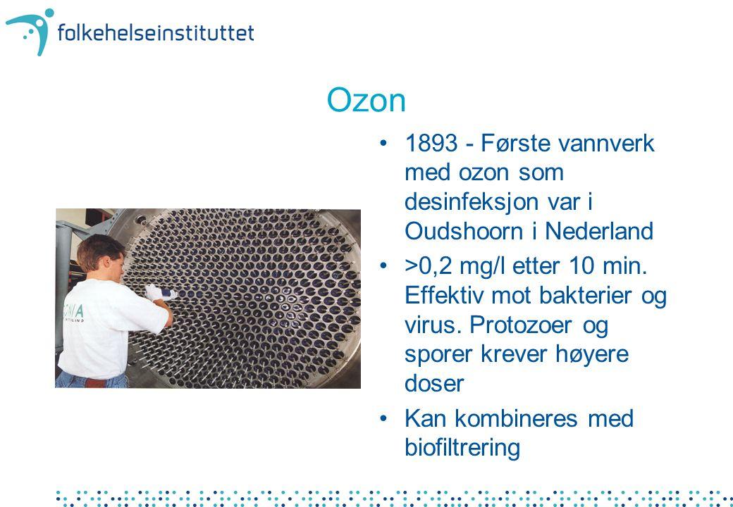 Ozon 1893 - Første vannverk med ozon som desinfeksjon var i Oudshoorn i Nederland.