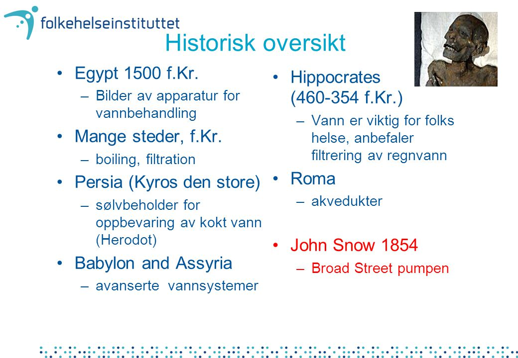 Historisk oversikt Egypt 1500 f.Kr. Mange steder, f.Kr.