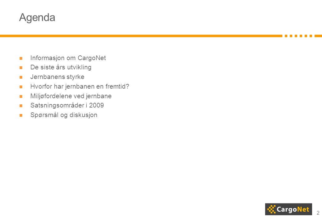 Agenda Informasjon om CargoNet De siste års utvikling