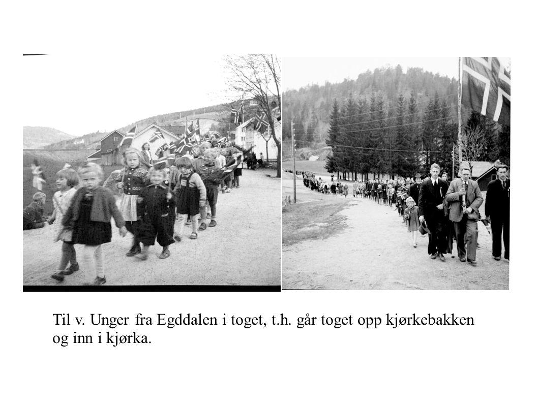 Til v. Unger fra Egddalen i toget, t.h. går toget opp kjørkebakken