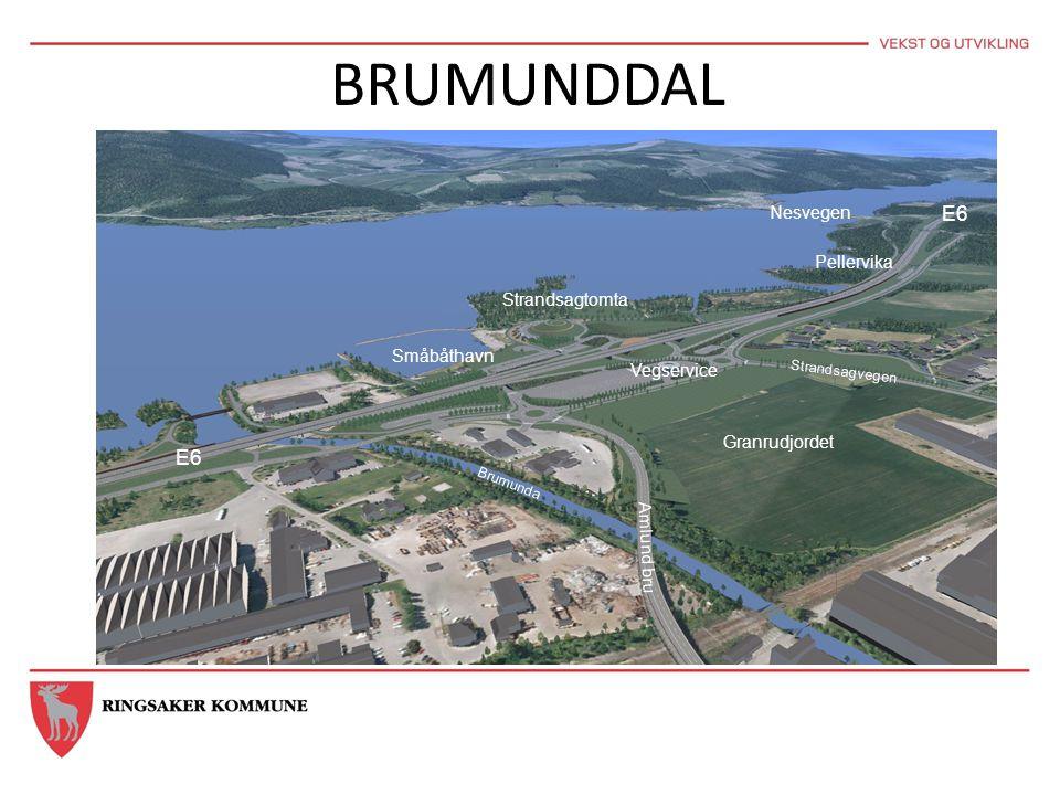 BRUMUNDDAL E6 Nesvegen Pellervika Strandsagtomta Småbåthavn Vegservice