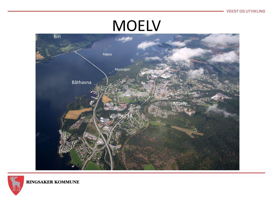 MOELV Vise E6 kryssing, fv. 213, Moelv skole, Kastbakkvegen, Moskogen med nærhet til E6 og jernbanestasjon.