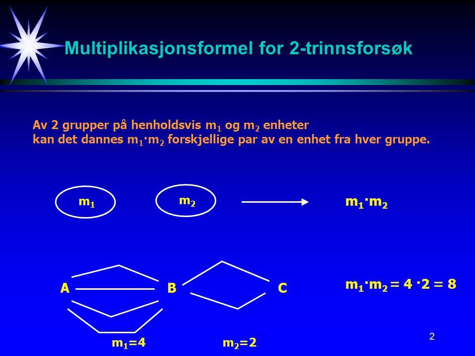Multiplikasjonsformel for 2-trinnsforsøk