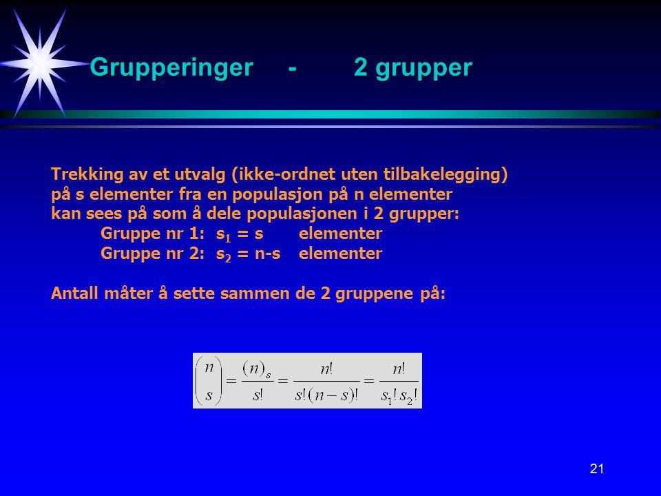 Grupperinger - 2 grupper