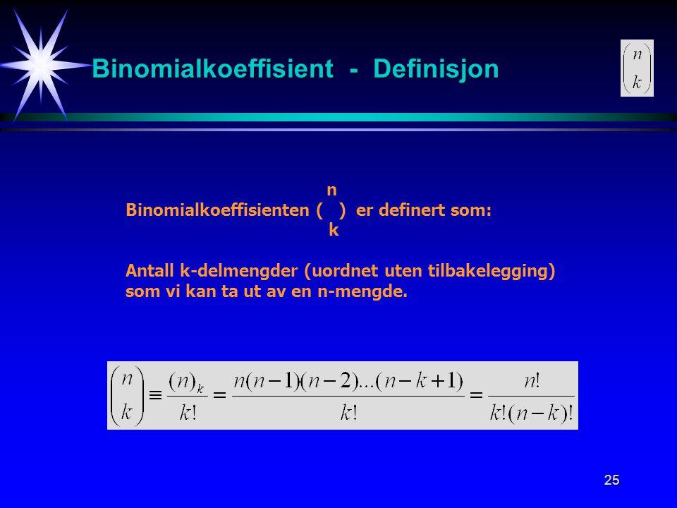 Binomialkoeffisient - Definisjon