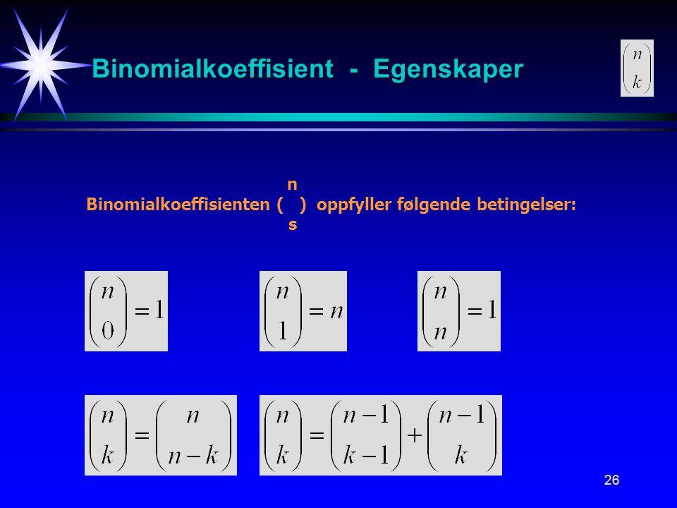Binomialkoeffisient - Egenskaper