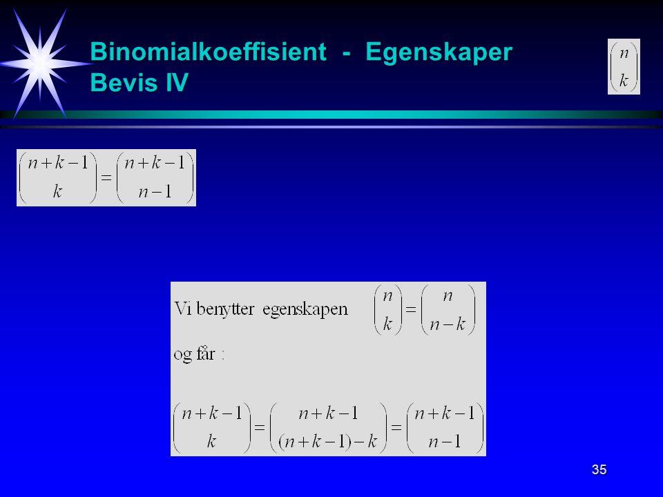 Binomialkoeffisient - Egenskaper Bevis IV