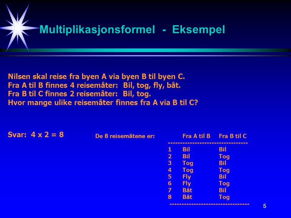 Multiplikasjonsformel - Eksempel