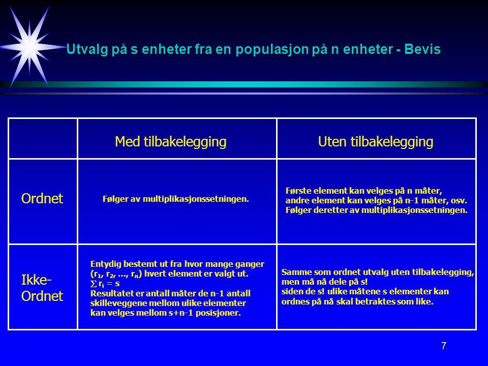 Utvalg på s enheter fra en populasjon på n enheter - Bevis