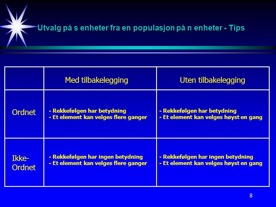 Utvalg på s enheter fra en populasjon på n enheter - Tips