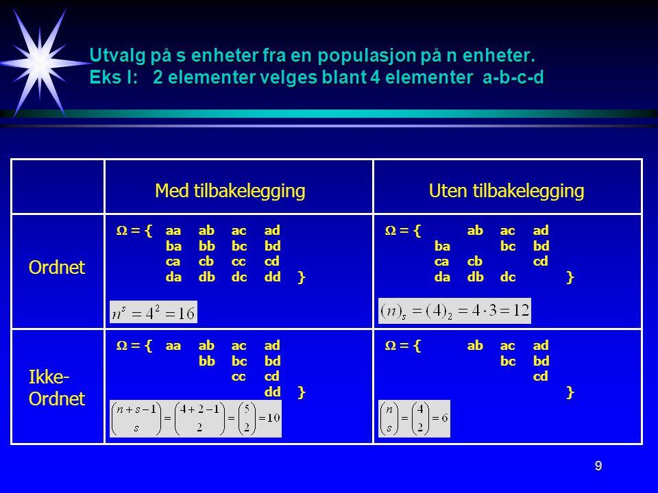 Utvalg på s enheter fra en populasjon på n enheter