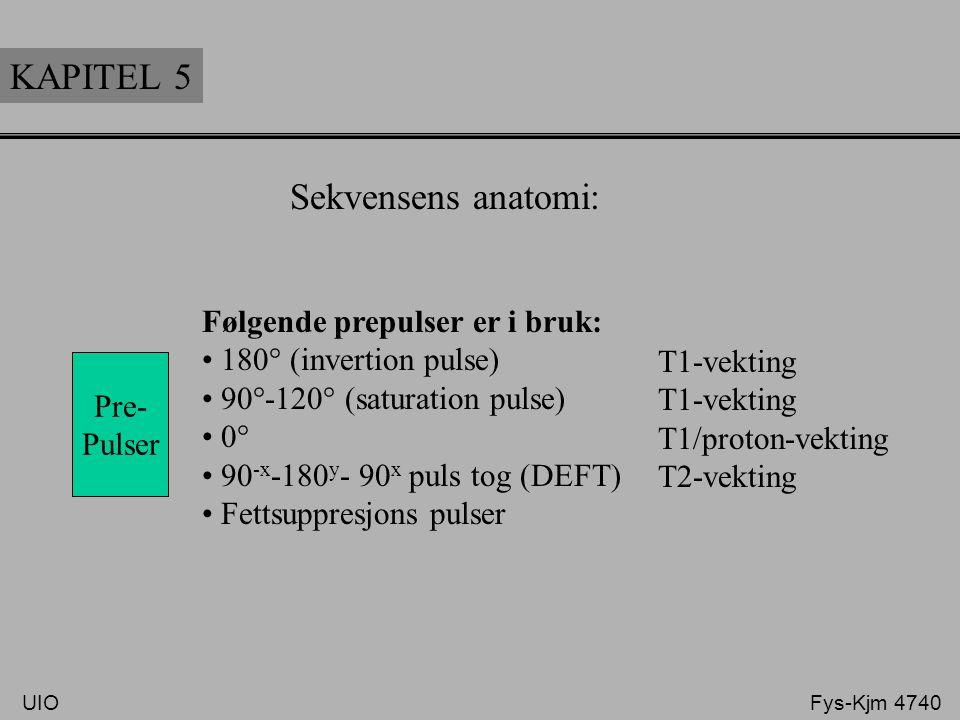 KAPITEL 5 Sekvensens anatomi: Følgende prepulser er i bruk: