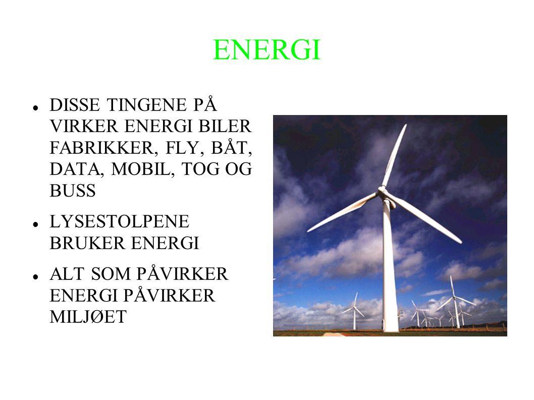ENERGI DISSE TINGENE PÅ VIRKER ENERGI BILER FABRIKKER, FLY, BÅT, DATA, MOBIL, TOG OG BUSS. LYSESTOLPENE BRUKER ENERGI.
