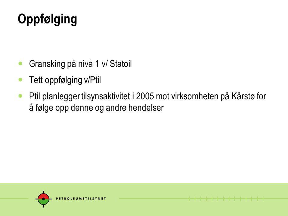 Oppfølging Gransking på nivå 1 v/ Statoil Tett oppfølging v/Ptil